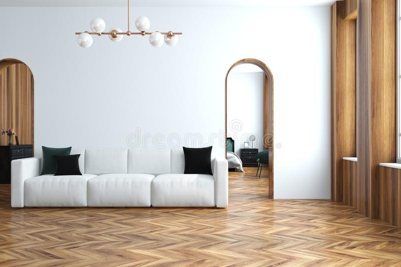 Modern White Living Room Interior With A White Sofa, Narrow Doorways And A  Wooden Floor. 3d Rendering Mock Up