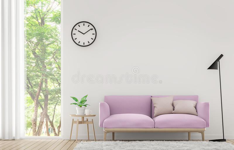 Modern white living room with pastel furniture 3d rendering image. There are window overlooking the surrounding nature and forest royalty free illustration