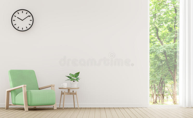 Modern white living room with pastel furniture 3d rendering image. There are window overlooking the surrounding nature and forest vector illustration