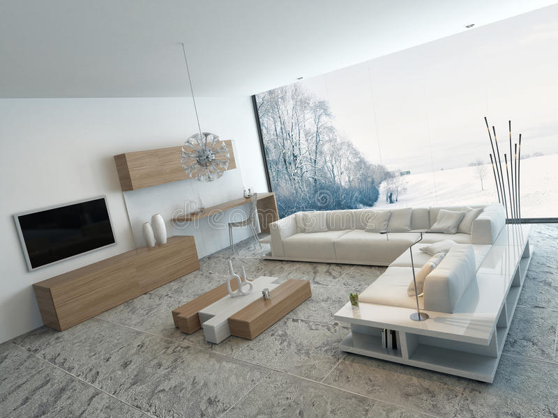 Modern white living room with wooden furniture. Image of Modern white living room with wooden furniture stock illustration