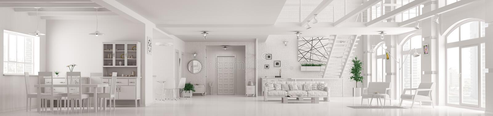 Download Modern White Loft Apartment Interior Panorama 3d Render Stock Illustration