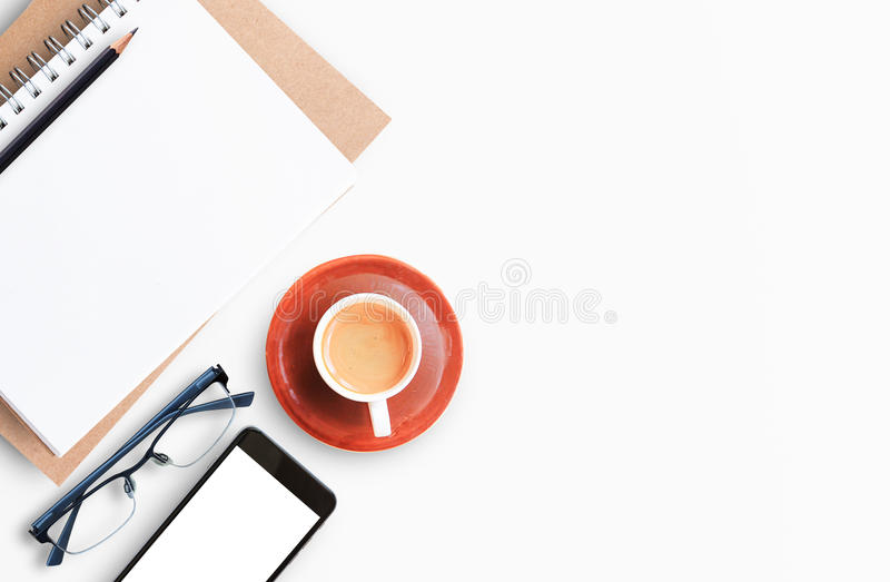 Modern white office desk table with laptop computer royalty free stock photos