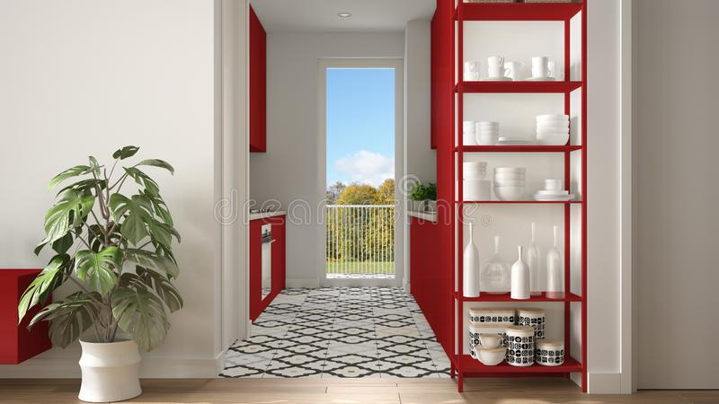 Modern white and red minimalist living room with small kitchen, parquet floor, potted plant, shelving sistem with decors, colored. Tiles, architecture interior royalty free stock images