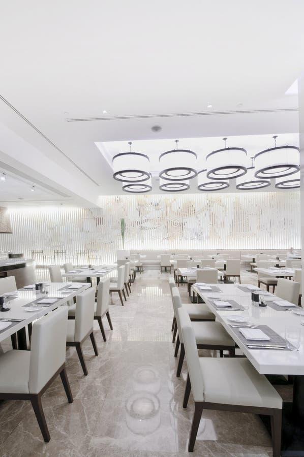 modern design at white restaurant interior