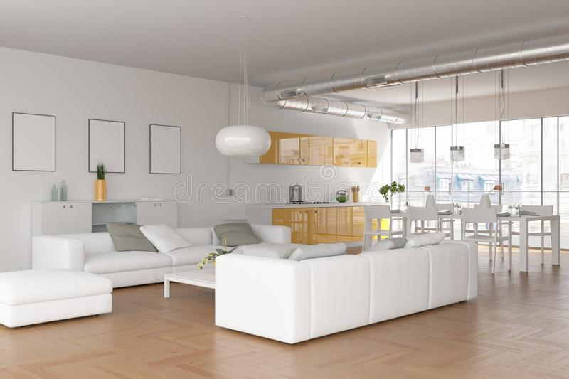 Modern bright skandinavian interior design living room royalty free stock photo