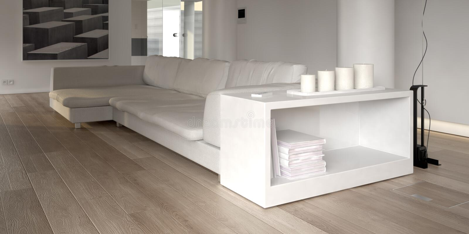Modern white sofa with bookcase royalty free illustration