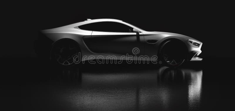 Modern white sports car on black background. Side view stock illustration
