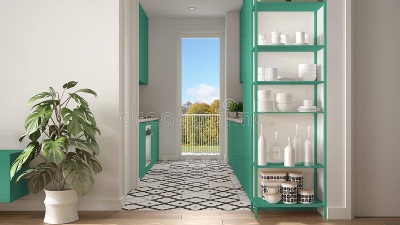 Modern white and turquoise minimalist living room with small kitchen, parquet floor, potted plant, shelving sistem with decors,. Colored tiles, architecture stock photos