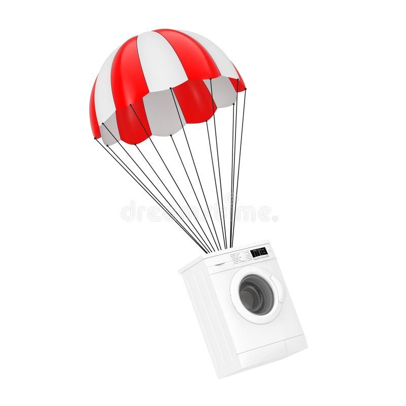 Modern White Washing Machine with Red Parachute. 3d Rendering vector illustration