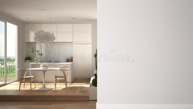 Modern white and wooden kitchen with dining table on a foreground wall, interior design architecture idea, concept with copy space. Blank backgroundv stock illustration