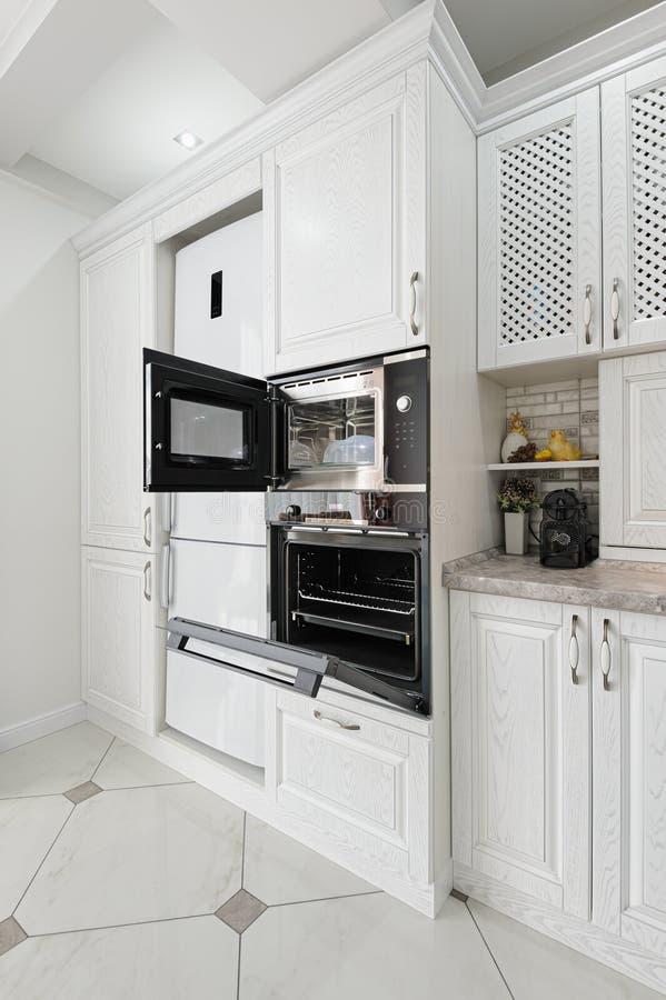 Modern white wooden kitchen interior stock photos