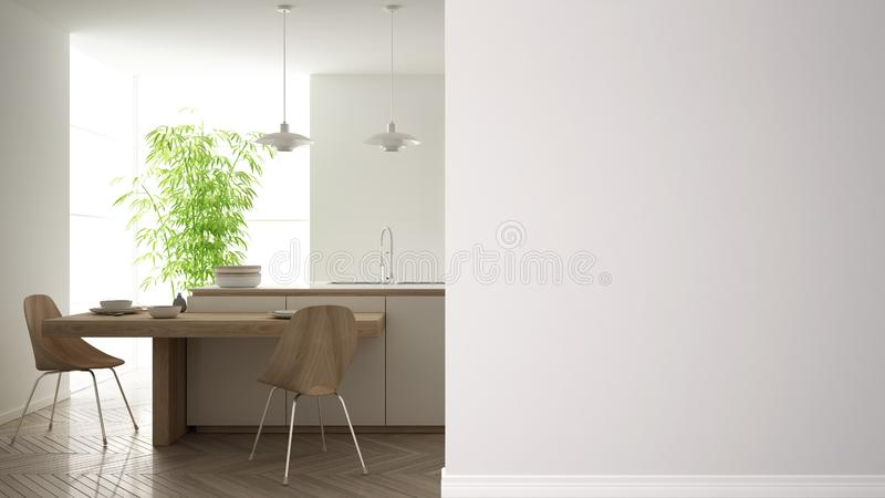 Modern white and wooden kitchen with island and stools on a foreground wall, interior design architecture idea, concept with copy. Space, blank background stock illustration