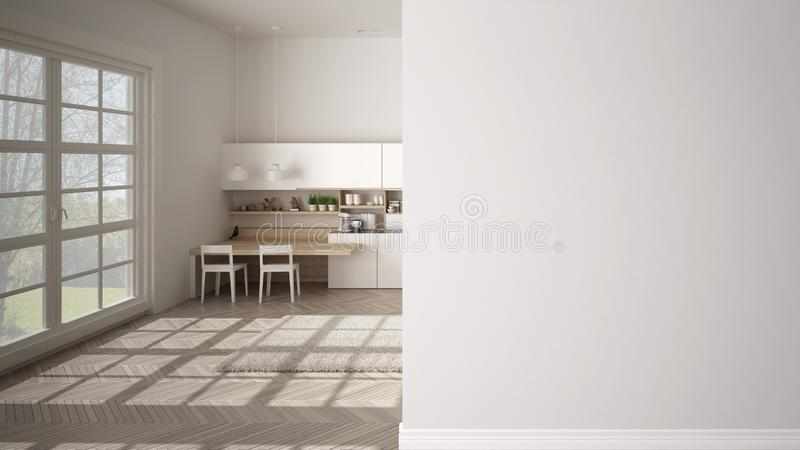 Modern white and wooden kitchen with island and stools on a foreground wall, interior design architecture idea, concept with copy. Space, blank background vector illustration