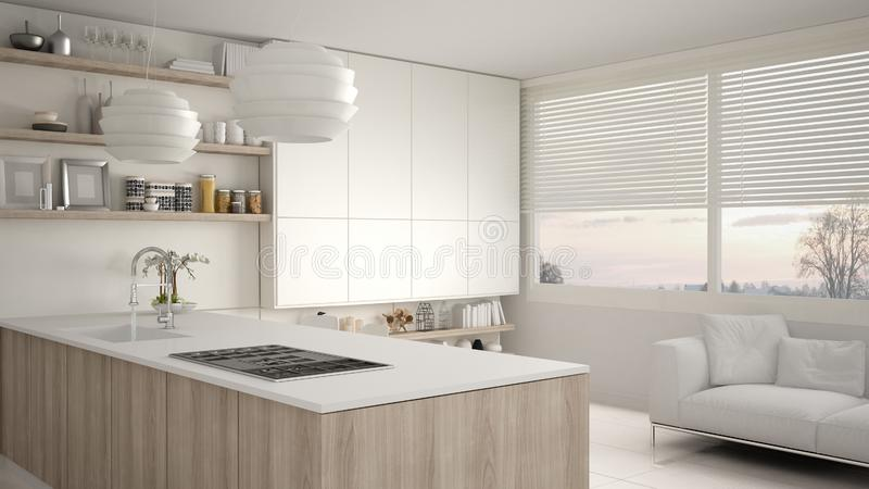 Modern white and wooden kitchen with shelves and cabinets, sofa and panoramic window. Contemporary living room, minimalist vector illustration