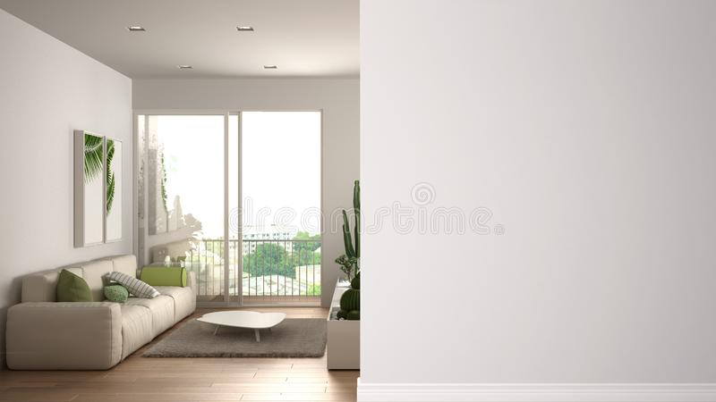 Modern white and wooden living room with sofa on a foreground wall, interior design architecture idea, concept with copy space,. Blank background stock illustration