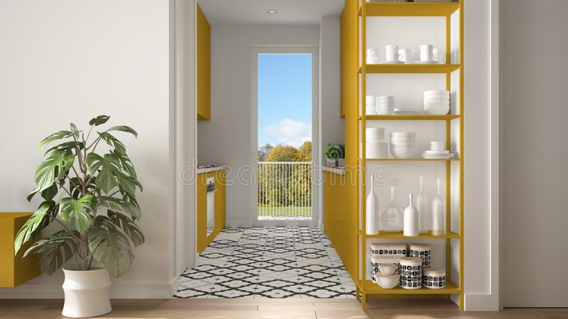 Modern white and yellow minimalist living room with small kitchen, parquet floor, potted plant, shelving sistem with decors,. Colored tiles, architecture royalty free stock image