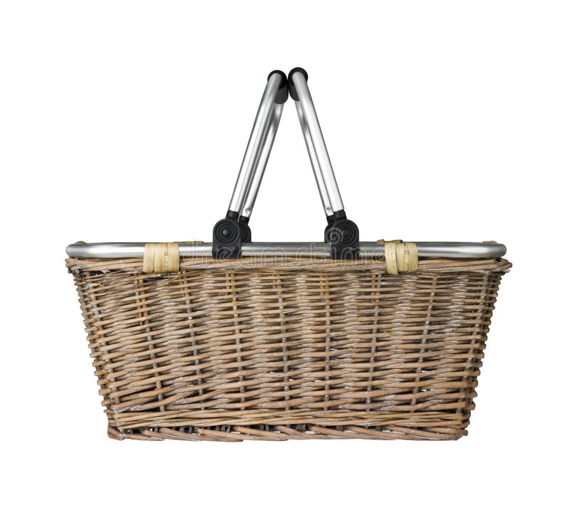 Modern wicker basket with metal handle, cut out side view stock images