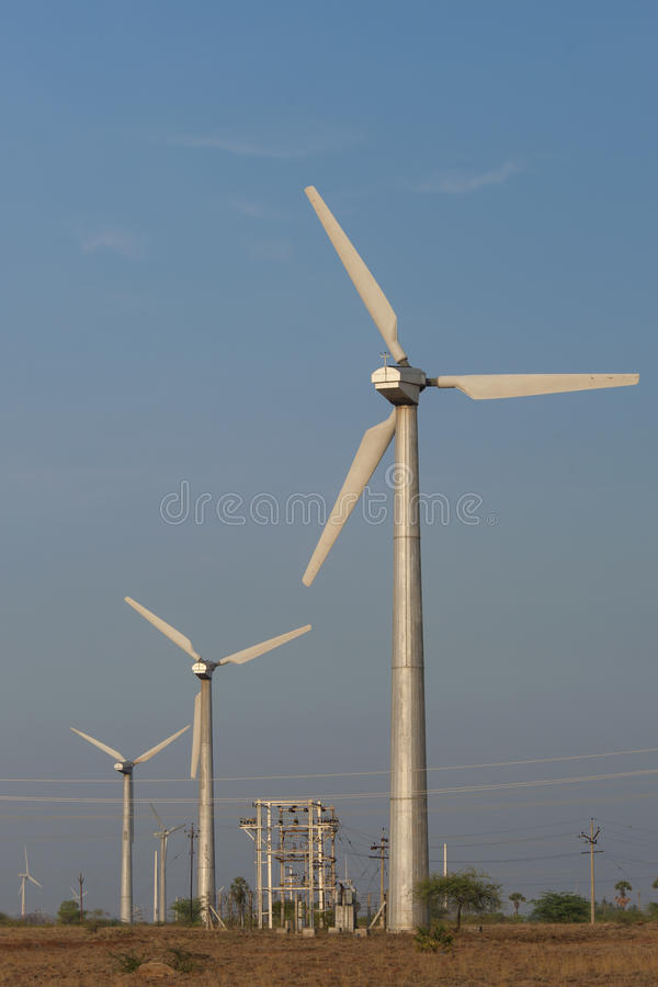 Modern wind turbines. Modern renewable sources of energy generating electricity royalty free stock photos