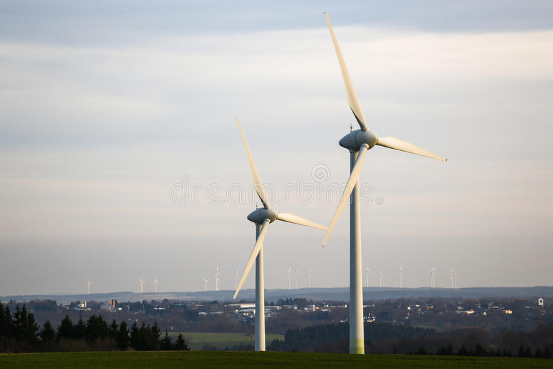 Modern windmill plant royalty free stock photos