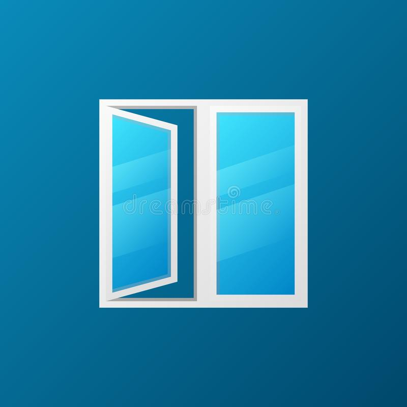 Modern window with blue glass vector icon. Or logo element stock illustration