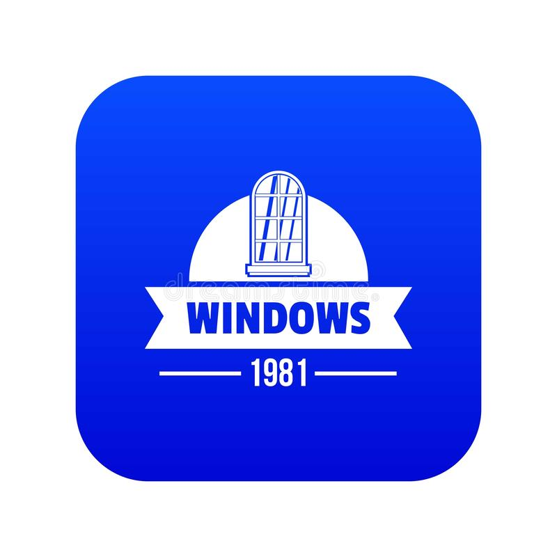 Modern window icon blue vector. Isolated on white background royalty free illustration