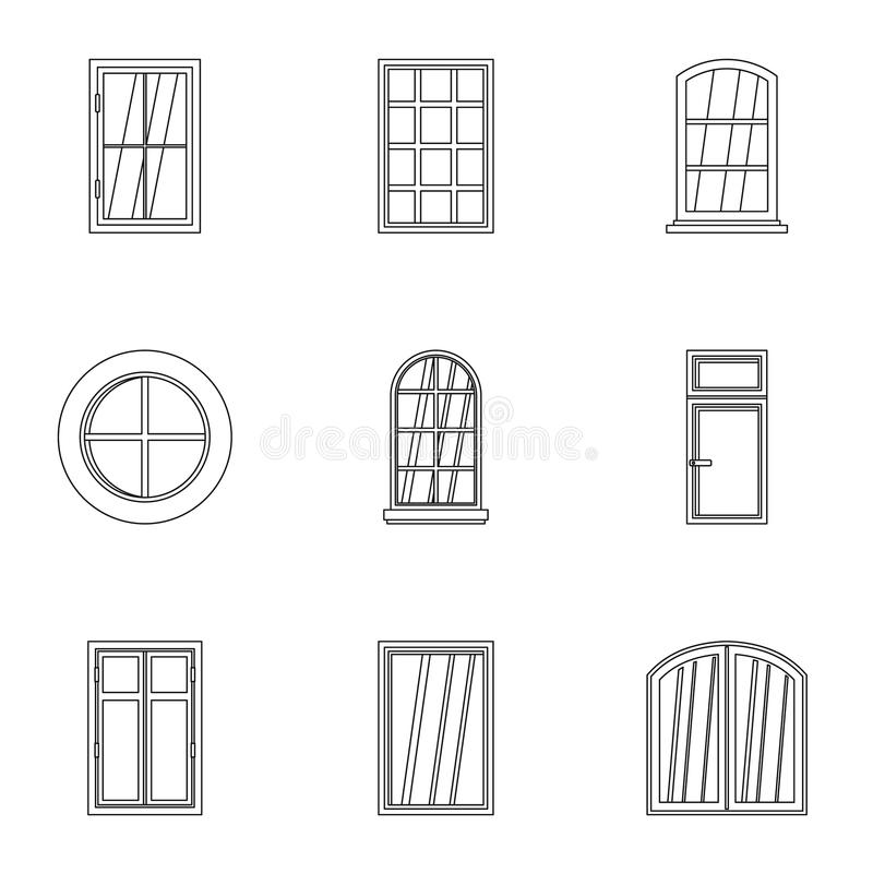 Modern window icon set, outline style. Modern window icon set. Outline set of 9 modern window vector icons for web isolated on white background royalty free illustration