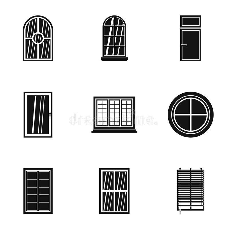 Modern window icon set, simple style. Modern window icon set. Simple set of 9 modern window vector icons for web isolated on white background stock illustration