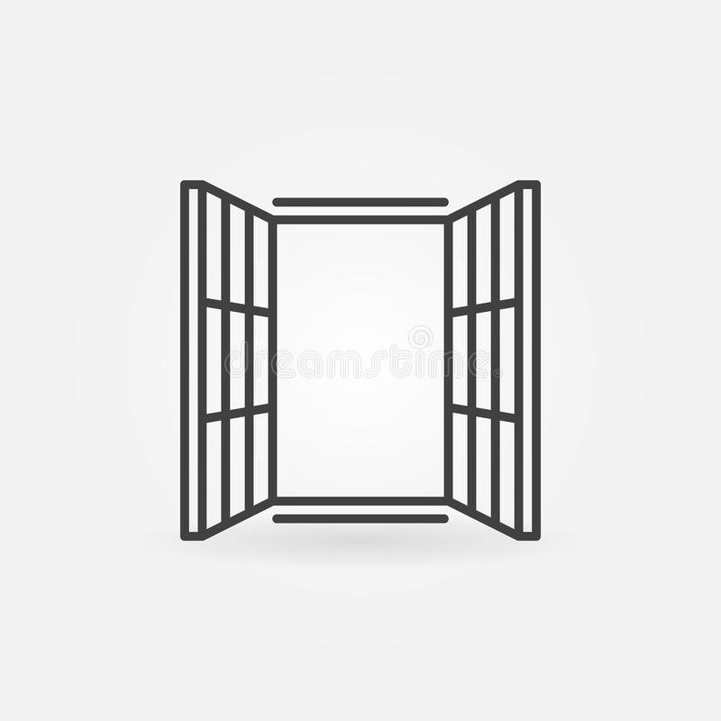 Modern window icon vector symbol in thin line style. Modern window icon vector concept symbol in thin line style royalty free illustration