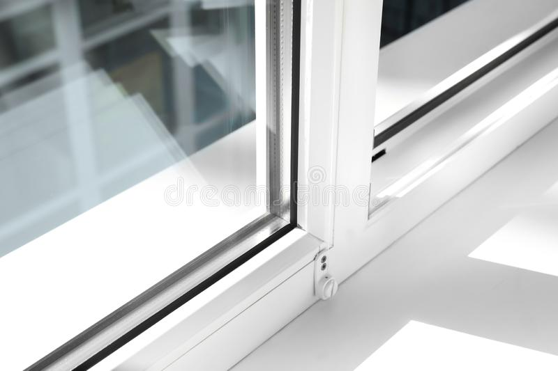 Modern window indoors, closeup view. Home interior stock images