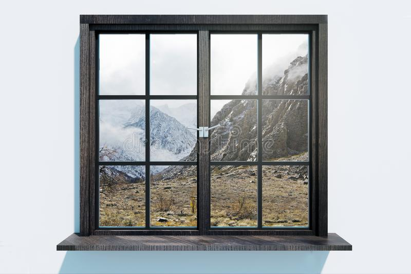 Modern window with landscape view. Home and design concept. 3D Rendering royalty free illustration