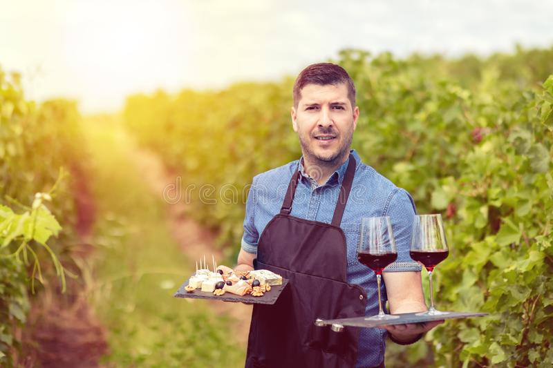 Modern wine maker in vineyard holding samples of red wine and different selection of cheese and salami stock photos