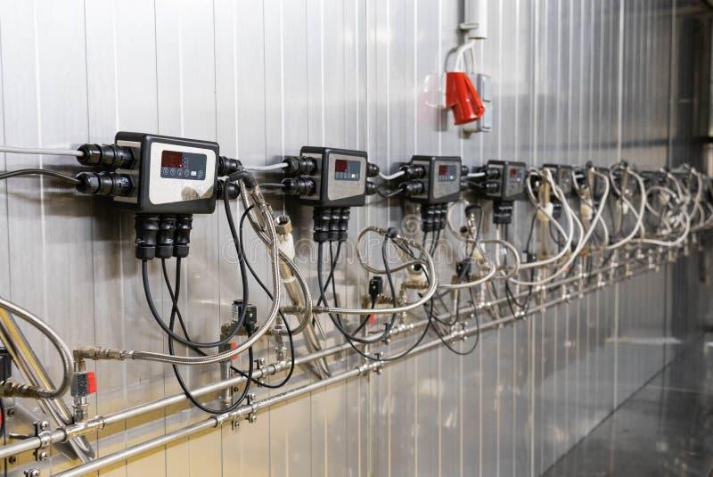 Modern wine technology, wine cooling device. Modern wine production stock image