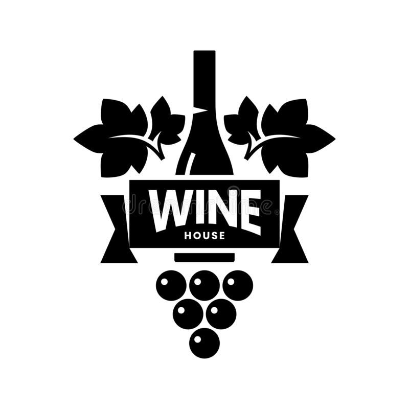 Modern wine vector logo sign for tavern, restaurant, house, shop, store, club and cellar isolated on white background royalty free stock images