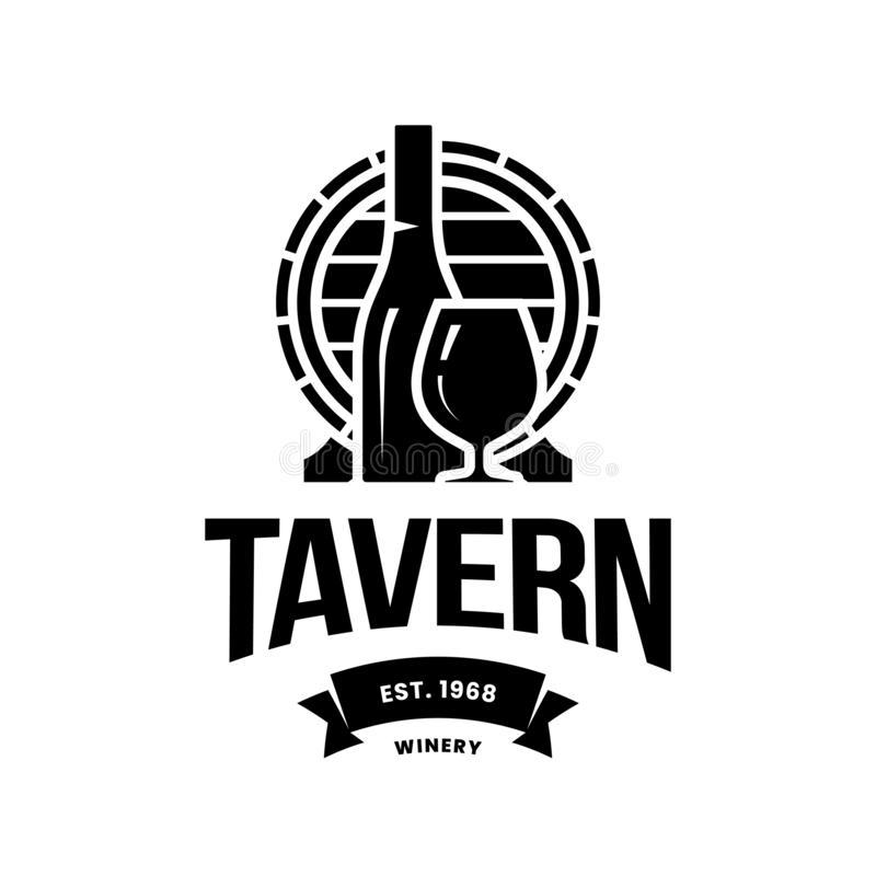 Modern wine vector logo sign for tavern, restaurant, house, shop, store, club and cellar isolated on white background royalty free stock photo