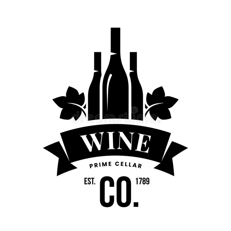 Modern wine vector logo sign for tavern, restaurant, house, shop, store, club and cellar isolated on white background royalty free stock photography