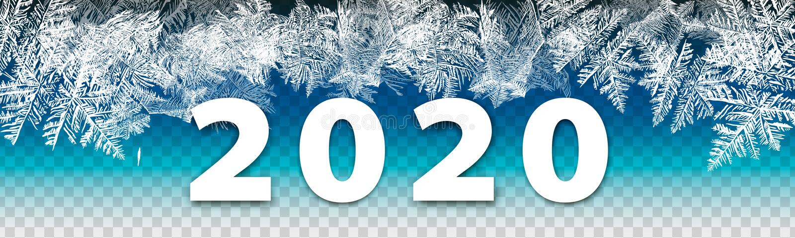 2020 modern winter background New Year on ice frosted background. Global colors. One editable gradient is used for easy recolor. 2018 New Year on ice frosted royalty free stock image