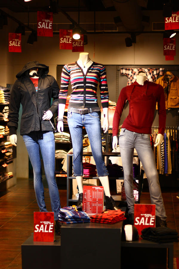 Modern Winter Clothing Retail Discount Sale. Modern Winter Clothing for discount sale in a Retail Shopping Mall royalty free stock image