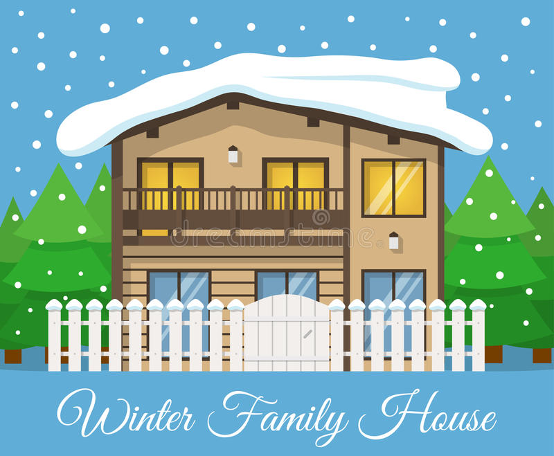 Modern winter country Family House Poster or Greeting Card. Vector illustration vector illustration