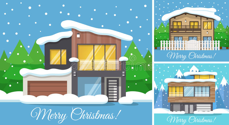 3 in 1 Modern winter Family House Poster or Greeting Card for Christmas. Vector illustration royalty free illustration