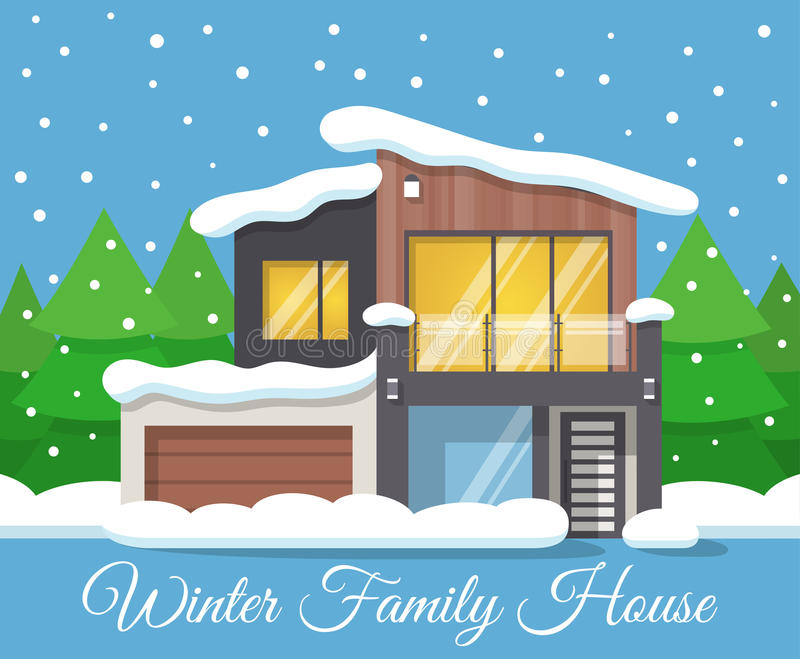 Modern winter Family House Poster or Greeting Card. Vector illustration vector illustration
