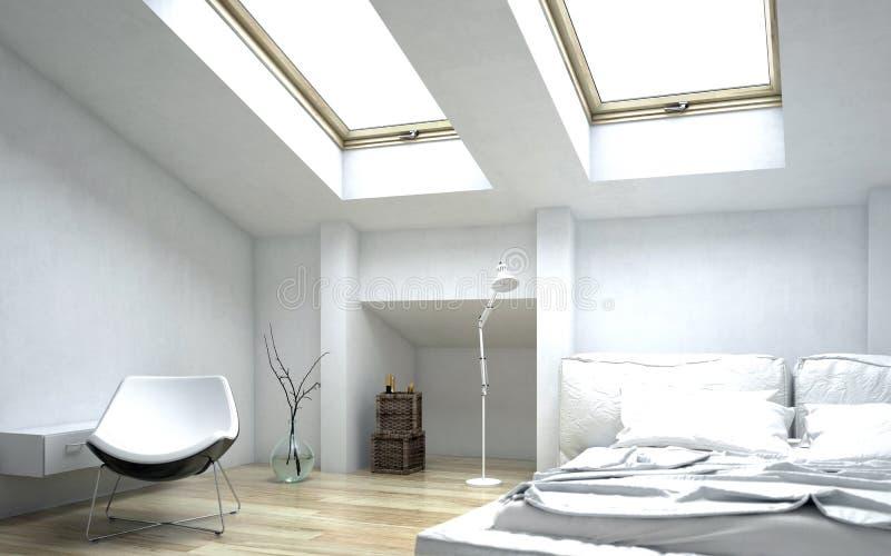 Modern Wit Architecturaal Slaapkamerontwerp royalty-vrije illustratie