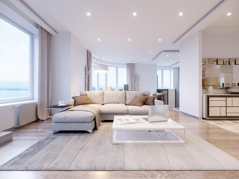 Modern wit grijs woonkamer binnenlands ontwerp vector illustratie