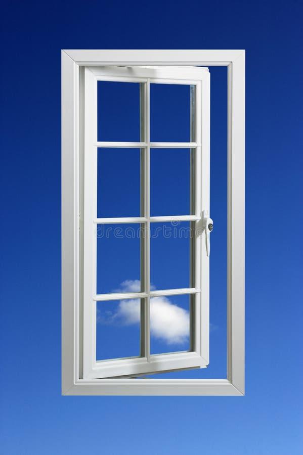 Modern wit raamkozijn in blauwe hemel royalty-vrije stock afbeeldingen