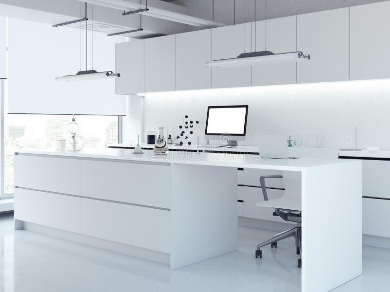 Modern wit schoon laboratorium het 3d teruggeven royalty-vrije stock afbeeldingen