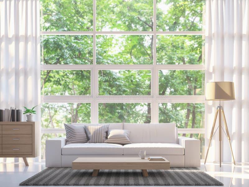 Modern wit woonkamer 3d teruggevend beeld vector illustratie