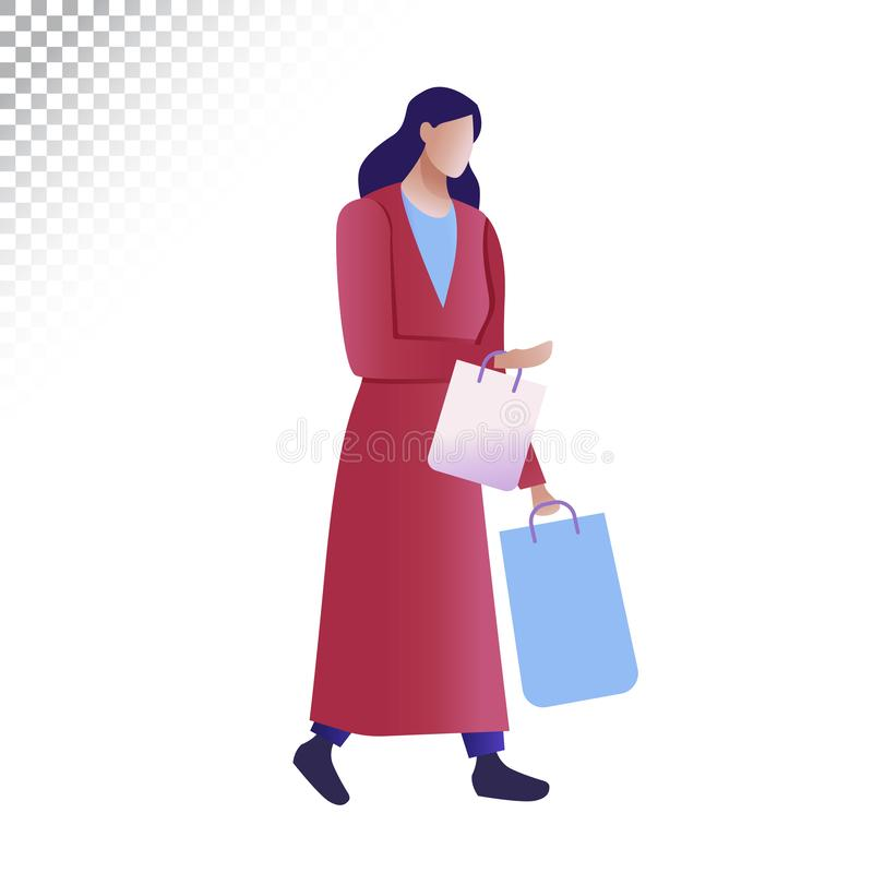 Modern woman flat illustration. The woman carries shopping bags. Vector illustration on a transparent background stock illustration