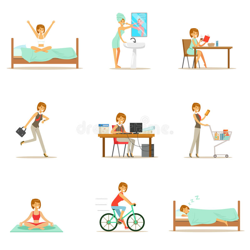 Modern Woman Daily Routine From Morning To Evening Series Of Cartoon Illustrations With Happy Character. Normal Work Day Life Scenes Of Smiling Person From stock illustration