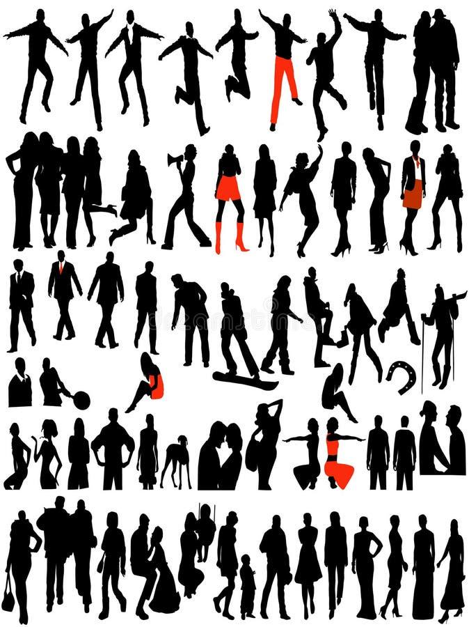 Modern women and men silhouettes stock illustration