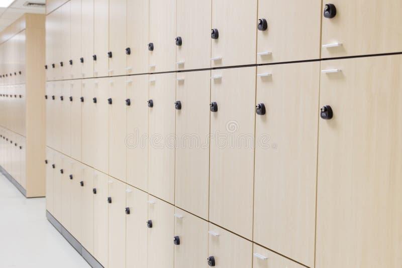Modern wood locker stock photo