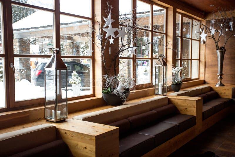 Modern wooden interior at Alpine ski resort. Beautiful modern wooden interior at Alpine ski resort royalty free stock images